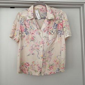 vintage pink floral pajama top